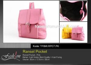 Tas Wanita Murah Ransel Stripe Pocket Kuning Pink