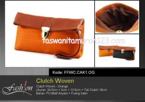 Dompet Wanita Murah Clutch Woven Orange