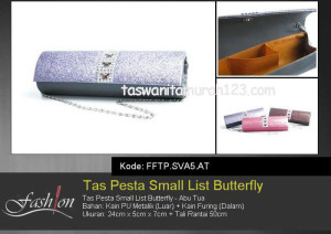 Tas Pesta Murah Small List Butterfly Abu Tua