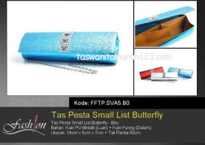 Tas Pesta Murah Small List Butterfly Biru