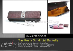 Tas Pesta Murah Small List Butterfly Coklat Tua