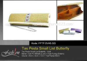 Tas Pesta Murah Small List Butterfly Gold