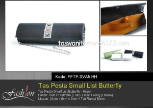 Tas Pesta Murah Small List Butterfly Hitam