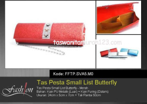 Tas Pesta Murah Small List Butterfly Merah