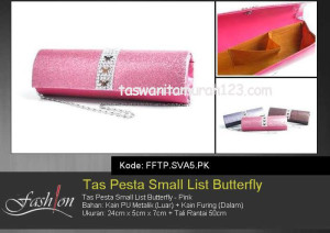 Tas Pesta Murah Small List Butterfly Pink
