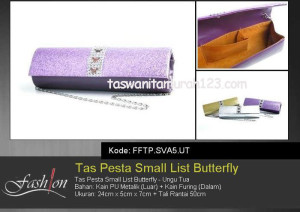 Tas Pesta Murah Small List Butterfly Ungu