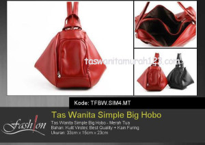 Tas Wanita Murah Simple Big Hobo Merah Tua