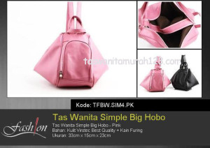 Tas Wanita Murah Simple Big Hobo Pink