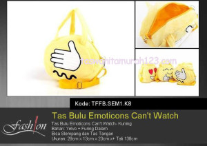 Tas Anak Bulu Emoticon Cant Watch