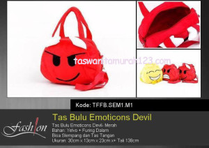 Tas Anak Bulu Emoticon Devil